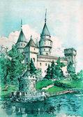 Akvarell festészet Bojnice kastély. Ősi fal és a tornyok, a parton néhány tó, nyári táj