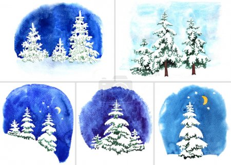 Set of Hand-painted watercolor illustration of winter forest day and night. Firs covered with snow on the background of night sky with moon and stars. Designs or Christmas card, invitation or other.