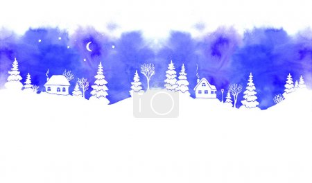 Blue watercolor winter landscapes with white silhouettes of fir trees, snowdrifts, houses, moon, stars and lantern. Seamless border.