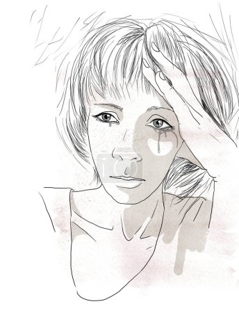 A portrait of a sad young woman crying, drawn with black pen. Sketch monochrom illustration on white background.