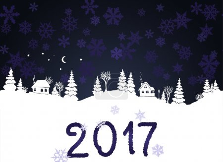 New year 2017 background with white silhouettes of winter countryside landscape: firs, trees, houses, bushes, snowdrifts, moon and stars. Dark sky with snow flakes. Vector illustration.