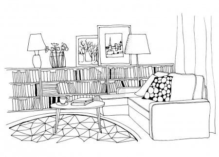 Illustration for Hand drawn sketch of modern living room interior with a sofa, pillows, small coffee table, bookshelf with a lot of books, lamps, pictures and a vase. - Royalty Free Image