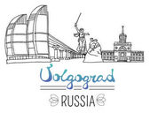Set of the landmarks of Volgograd city Russia Black pen sketches and silhouettes of buildings and monuments located in Volgograd Vector illustration on white background