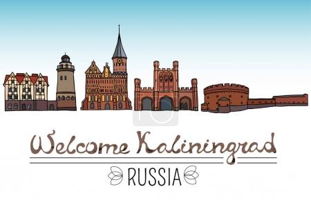 Set of the landmarks of Kaliningrad city, Russia. Color silhouettes of famous buildings located in Kaliningrad. Vector illustration on white background.