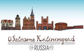 Set of the landmarks of Kaliningrad city Russia Color silhouettes of famous buildings located in Kaliningrad Vector illustration on white background