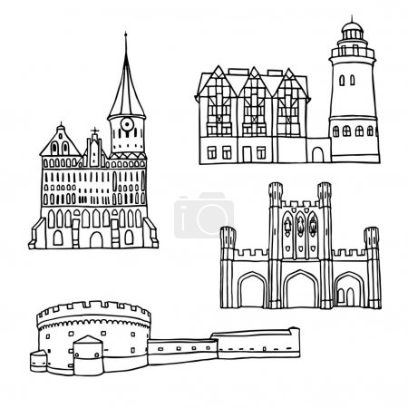 Black pen sketches and silhouettes of famous architecture. Set of the landmarks of Kaliningrad city, Russia. Vector illustration on white background.