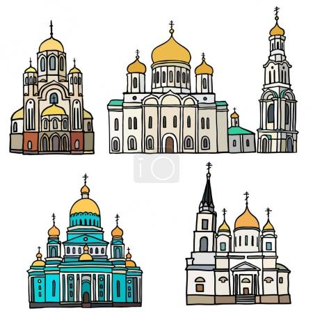 Set of russian orthodox churches and belltower. Color vector illustration on white background.