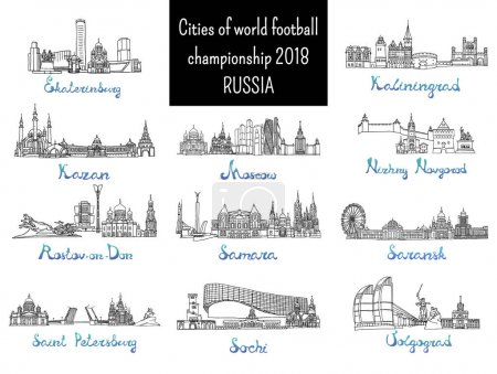 Set of the cities - destination of 2018 world football championship in Russia. Vector Illustration. Russian architecture. Black pen sketches and silhouettes of famous buildings located in the cities.