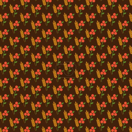 Seamless pattern with leaves and berries