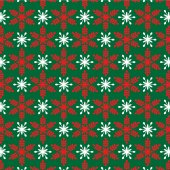 Red snowflakes on green texture