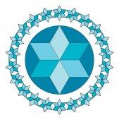 Blue Jewish star Vector