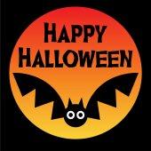 Halloween bat on orange moon illustration