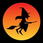 halloween witch with moon