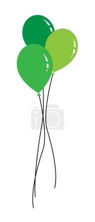 Illustration pour Ballon avec ruban le jour de l'anniversaire. Icônes web ballon, design d'anniversaire d'image d'art ballon coloré - image libre de droit