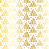 Golden christmas trees in polka dots on white background