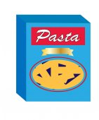Pasta box close up isolated on white background vector illustration