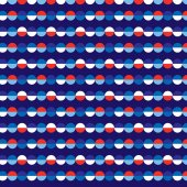 Red white blue wedge stripes on blue background