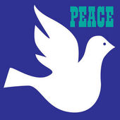 Peace dove with inscription peace on blue background vector illustration