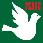 Peace dove with inscription peace on green background vector illustration