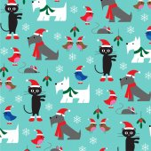 Pattern of christmas animals on blue snowy background vector illustration