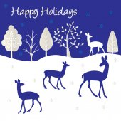 Happy holidays poster with deers and trees
