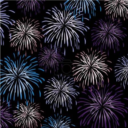 color fireworks on black background