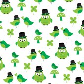 Saint patricks day owl pattern background