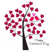 Pair of lovebirds on tree branch with hearts on white background valentine day wallpaper