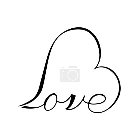 Illustration for Heart shaped valentine Love inscription - Royalty Free Image