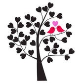 Pair of lovebirds on tree branch with hearts  valentine day wallpaper