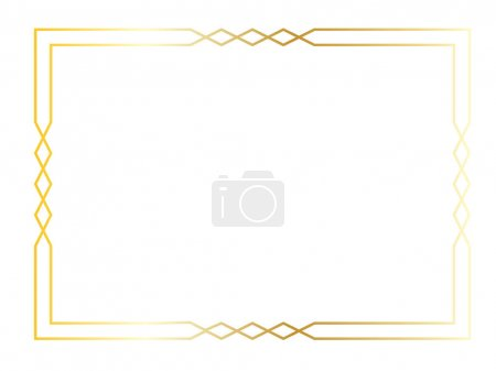 Illustration for Gold art deco square frame, illustration - Royalty Free Image