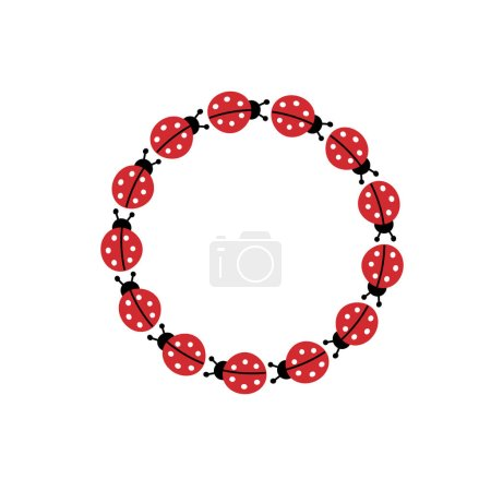 Circle frame of cartoon ladybugs
