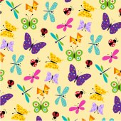 Vector illustration of butterflies and ladybugs pattern