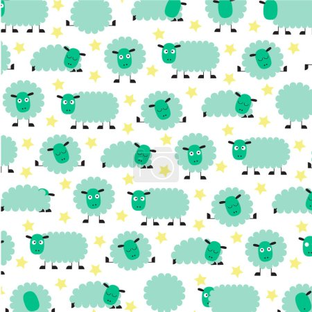 Illustration for Cute sleepy sheep pattern. vector illustration - Royalty Free Image