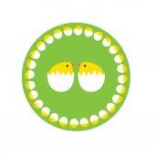 cute hatching white eggs