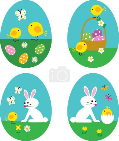 eggs with bunnies and chicks