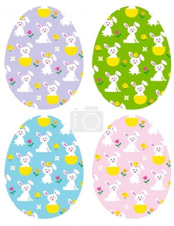 easter eggs with bunnies