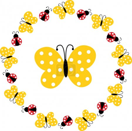 ladybug and butterfly circle frame