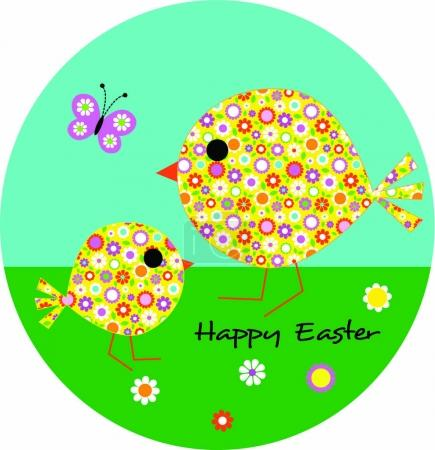 Easter chicks in floral pattern