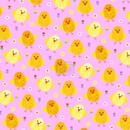 Bright pattern with chicks