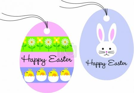 gift tags with Easter bunny and chicks