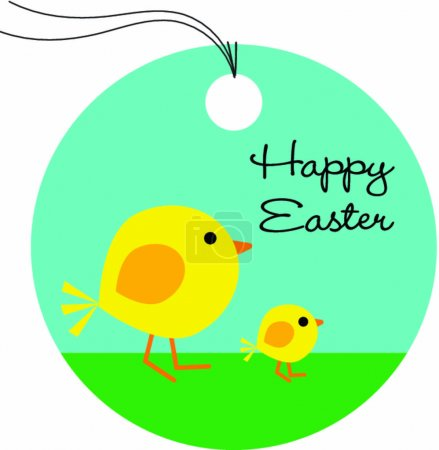 gift tag with cute Easter chicks