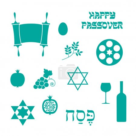 turquoise blue Passover icons