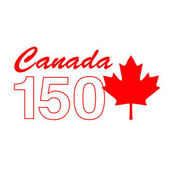 Canada 150 graphic with maple leaf frame