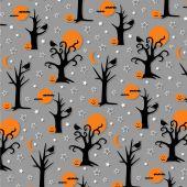 spooky halloween trees and birds