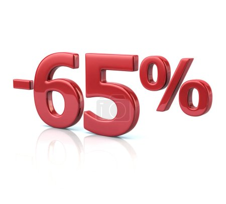 65 percent discount in red letters
