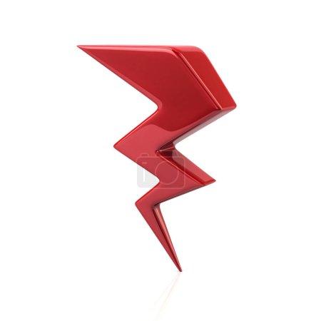 Foto de Ilustración 3d de relámpago rojo icono aislado sobre fondo blanco - Imagen libre de derechos