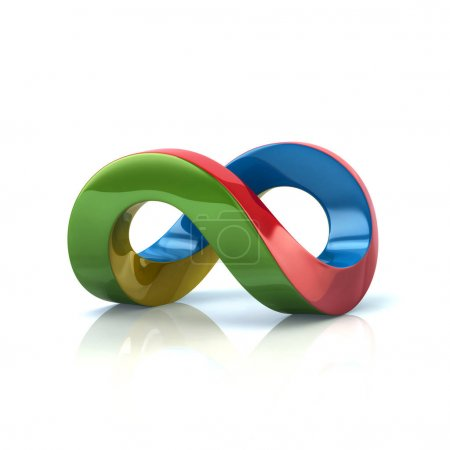 Photo for Colorful infinity symbol 3d rendering on white background - Royalty Free Image