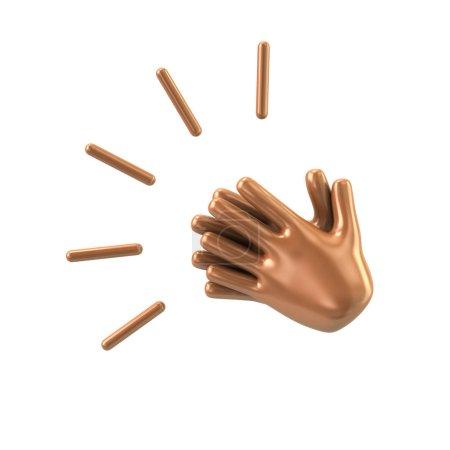 Photo pour Icône d'applaudissements mains sur fond blanc, illustration 3d - image libre de droit