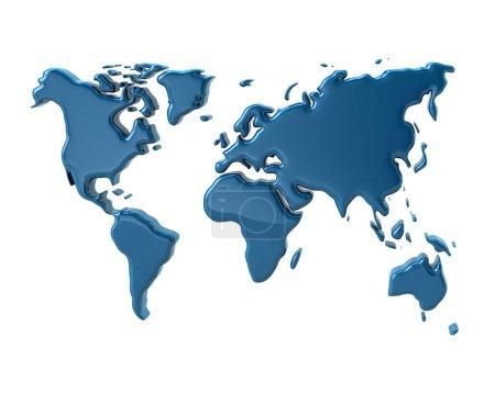 Photo pour Carte du monde bleu, 3d illustration isolé sur fond blanc - image libre de droit